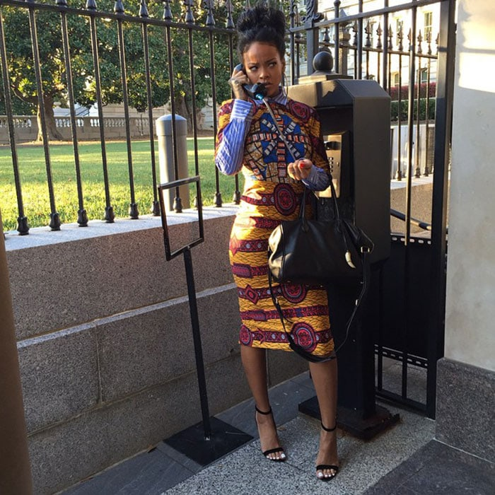Rihanna channels her inner Olivia Pope in a striking African-inspired look