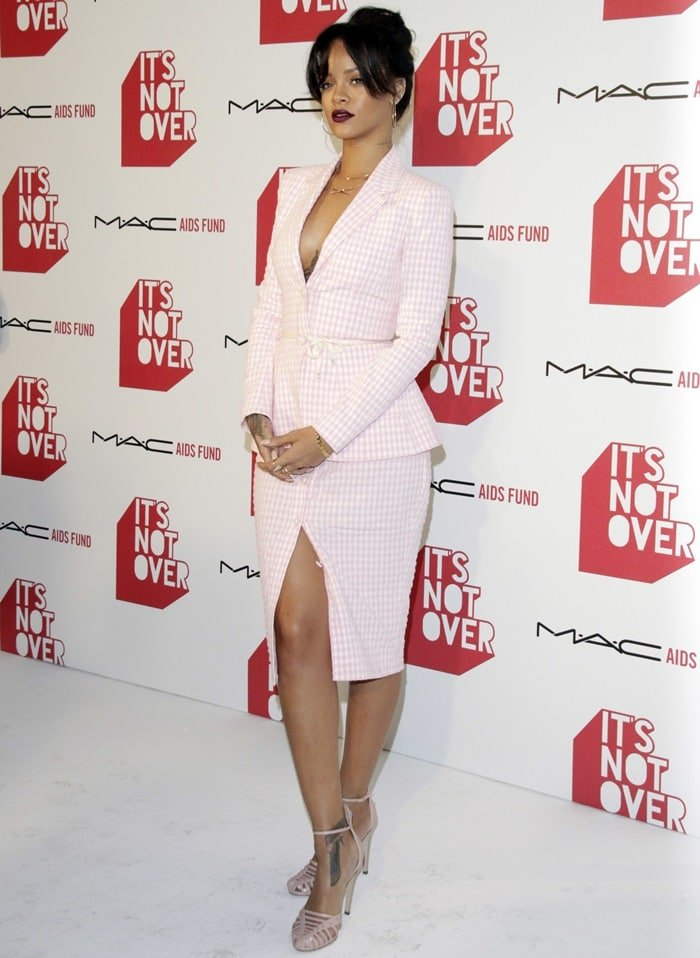 Braless Rihanna ina white-and-pink skirt suit from Altuzarra