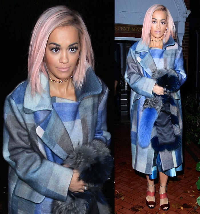 Rita Ora on her way to switch on the Christmas lights at Westfield London shopping center in London, England, on November 3, 2014