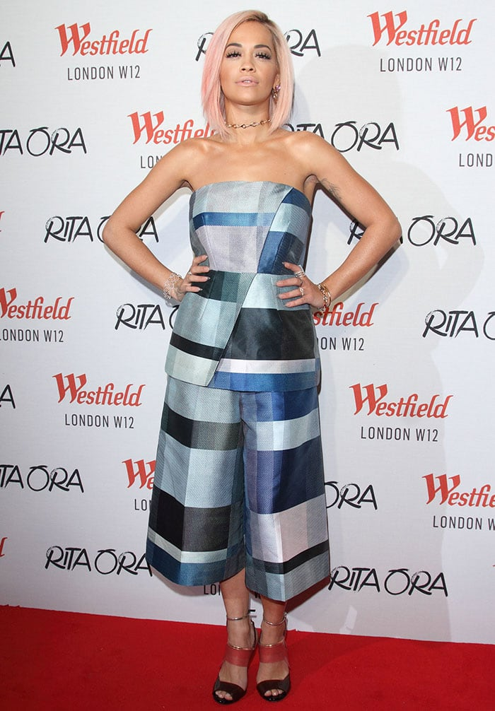 Rita Ora in a Whistles checkered bandeau top and matching culottes