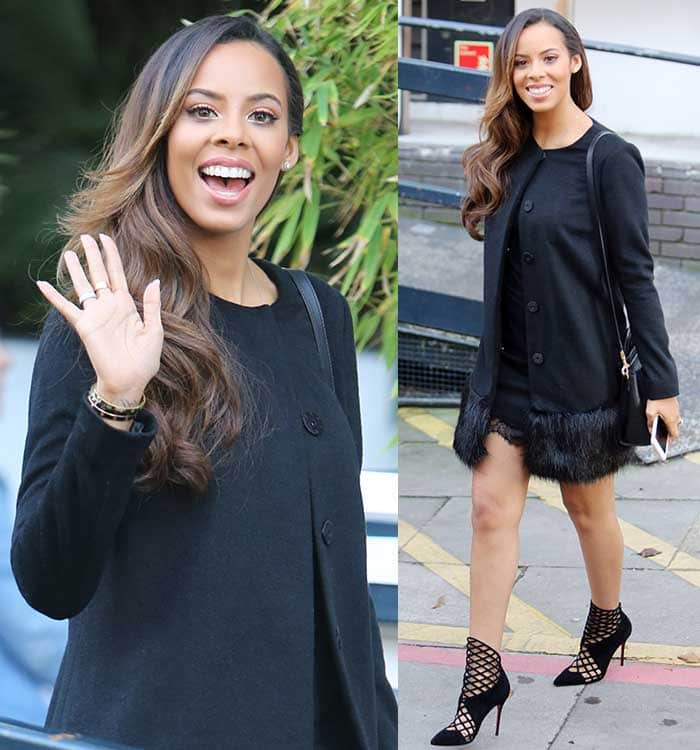 Rochelle Humes in a little black dress with a laced hem and a coat that features fur trims from her new collection