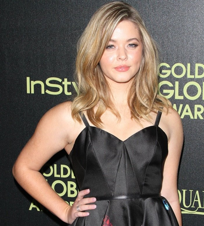 Sasha Pieterse at the Hollywood Foreign Press Association (HFPA) and InStyle Celebration of the 2015 Golden Globe Award Season held at Fig & Olive Melrose Place in West Hollywood on November 20, 2014