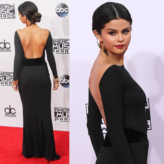 Selena Gomez's Armani Privé jersey-and-velvet gown from the back and the side
