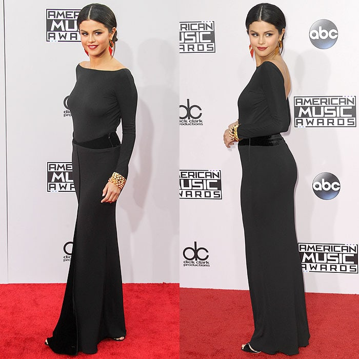 Giorgio Armani sandals peeking out from under Selena Gomez's Armani Privé gown