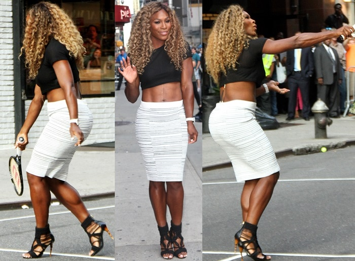 Serena Williams playing tennis with David Letterman outside the Ed Sullivan Theater in New York City on August 20, 2014
