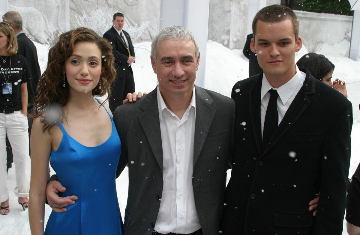 Emmy Rossum, director Roland Emmerich, and Austin Nichols at the premiere of 'The Day After Tomorrow'