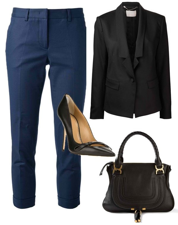 Tapered pants and blazers can lend more authority to your camisole top