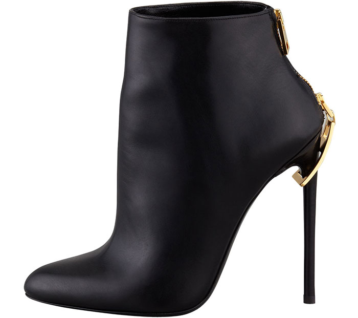 Tom Ford Zipper-Heel Leather Ankle Boots