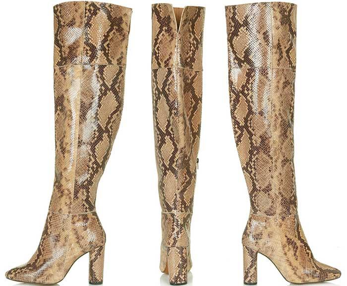 """Topshop """"Collide"""" High-Leg Snake Boots"""