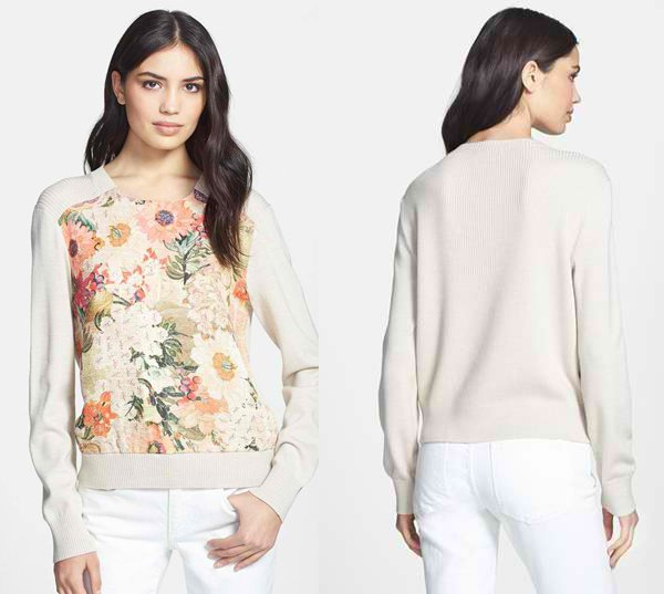 Beautiful screen-printed flowers front a soft mixed-media sweater knit with allover ribbing in back