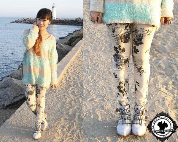 Toshiko wearinga geometric-print sweater with floral skinnies