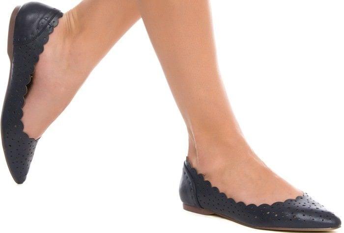 Valene Scallop-Trim Pointy-Toe Flats