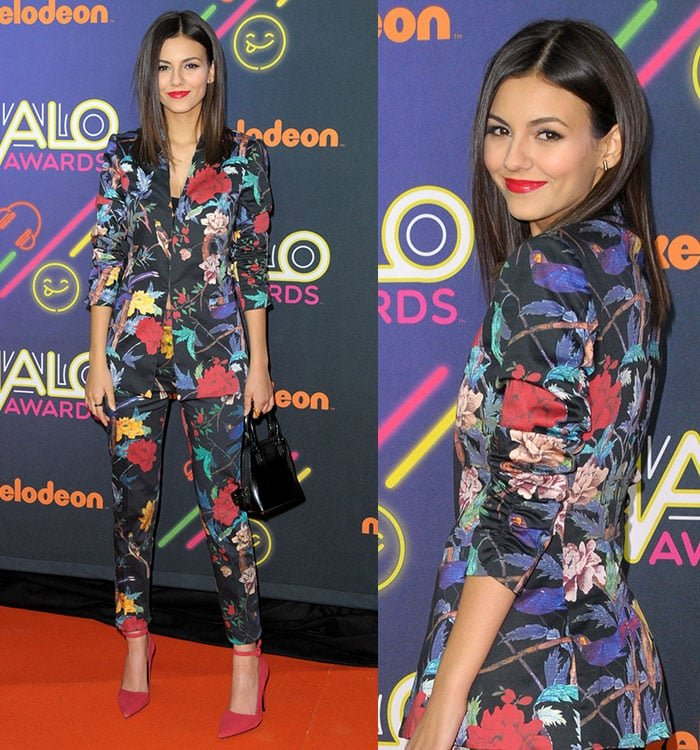 Victoria Justice wearinga printed blazer with matching boot-cut pants