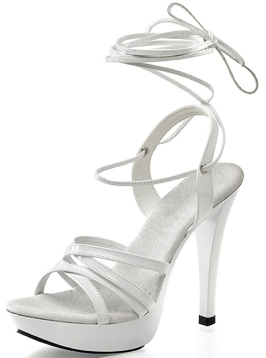 White Ankle-Tie Platform Sandals