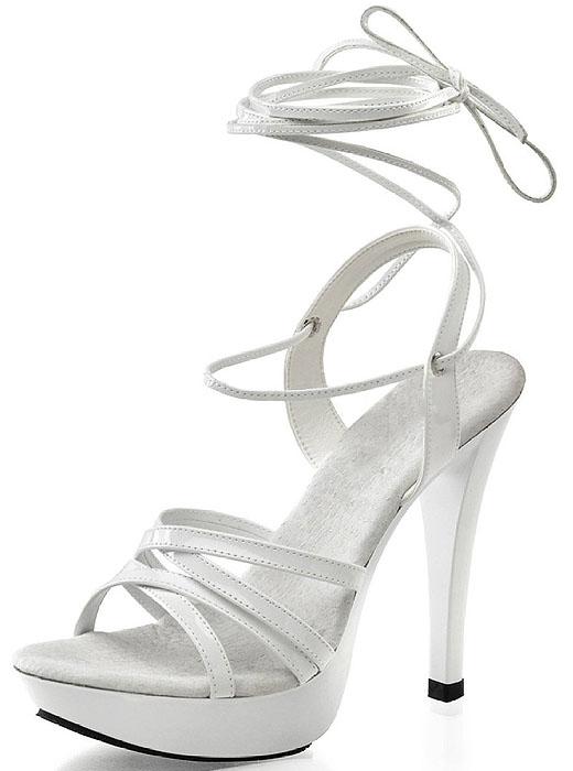 White ankle tie platform sandals