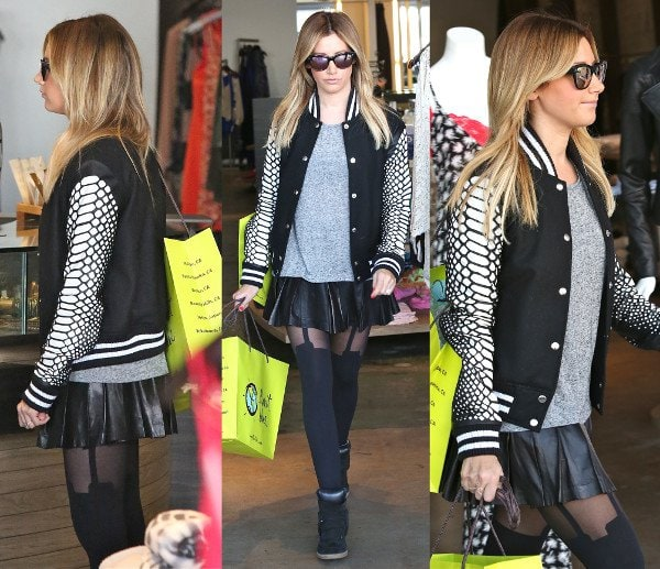 Ashley Tisdale pulls off the monotone look while shopping at Planet Blue in Beverly Hills on December 12, 2013
