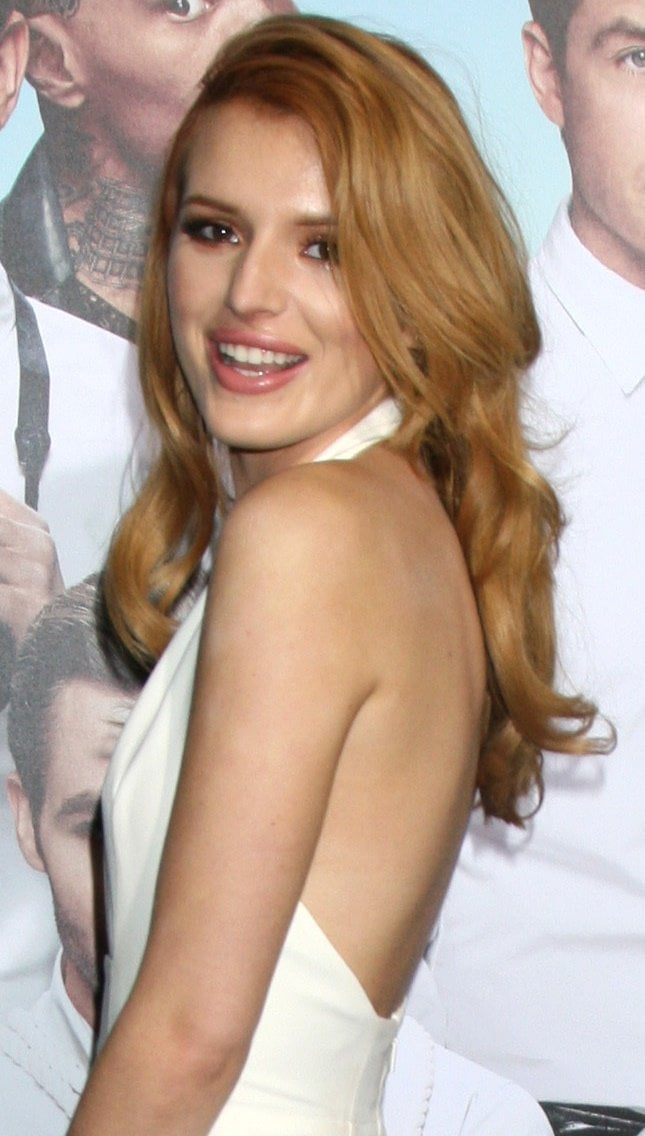 Bella Thorne looking white hot in a Gucci halter jumpsuit