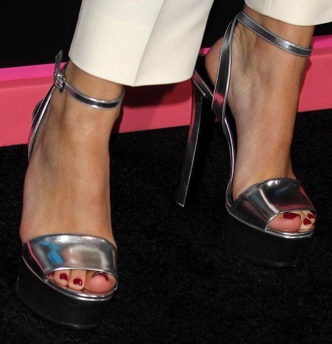 A closer look at Bella's silver platform sandals