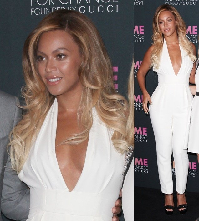 Beyonce wearing a white halter jumpsuit and platform ankle-strap sandals, both from Gucci