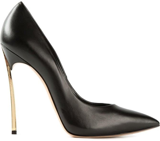 Casadei Blade-Heel Pumps in Black Leather