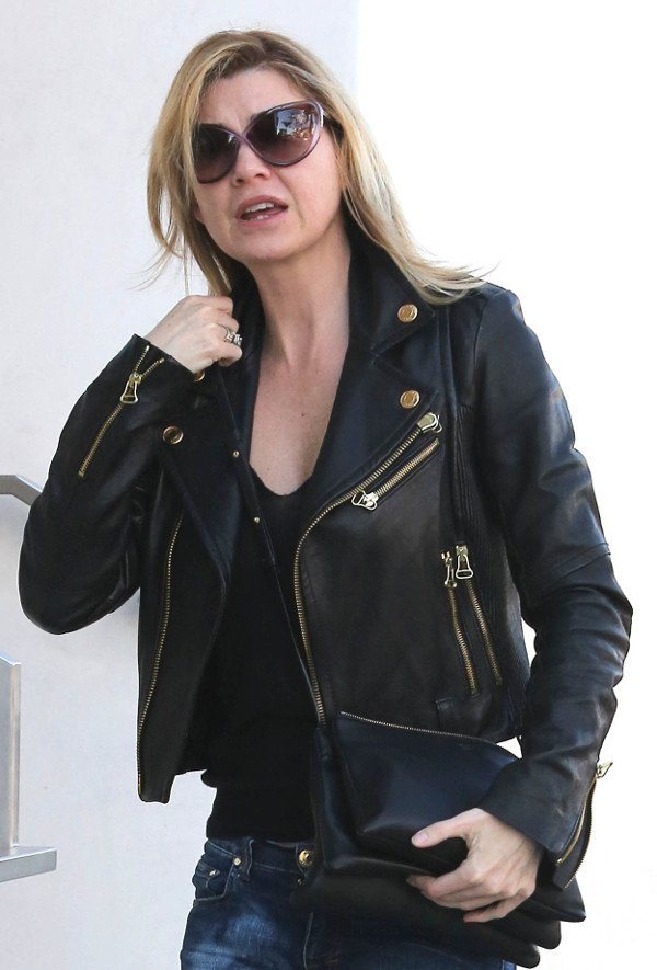 Ellen Pompeo buys lingerie from Addiction in Los Angeles, wearing a biker jacket and cat's eye sunglasses on December 12, 2013