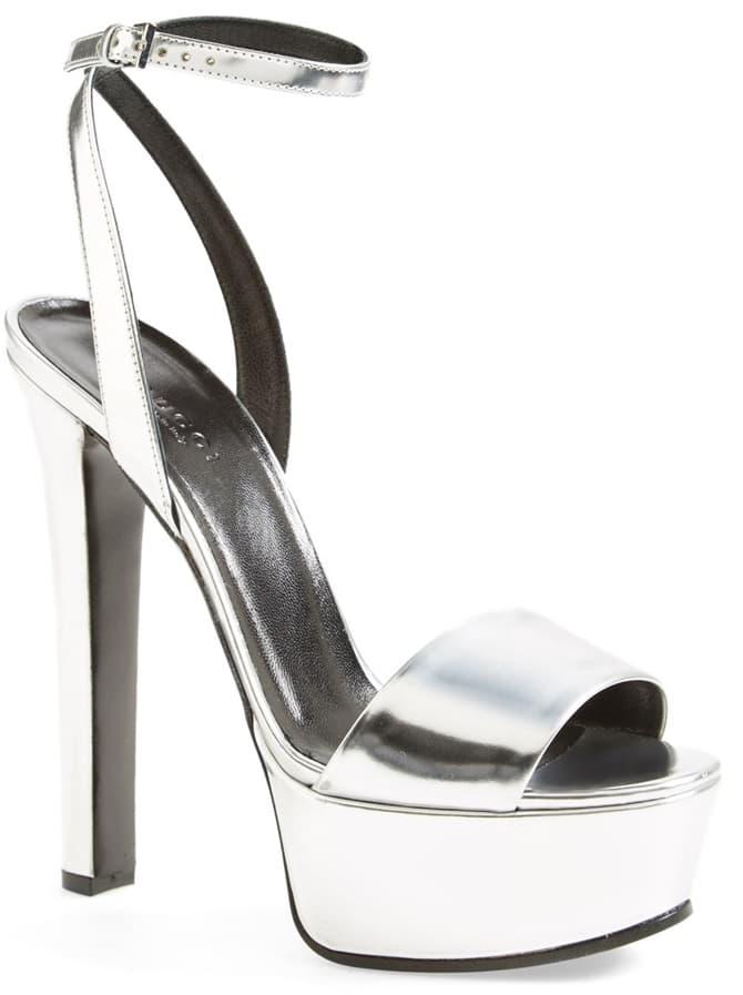 Gucci Metallic Ankle-Strap Platform Sandals
