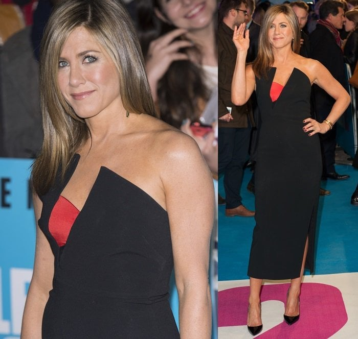Jennifer Aniston wears a little black dress at the UK premiere of Horrible Bosses 2
