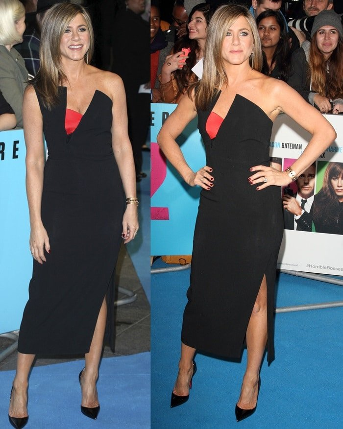 Jennifer Aniston's Antonio Berardi dress with a sculptural neckline featuring a red bustier