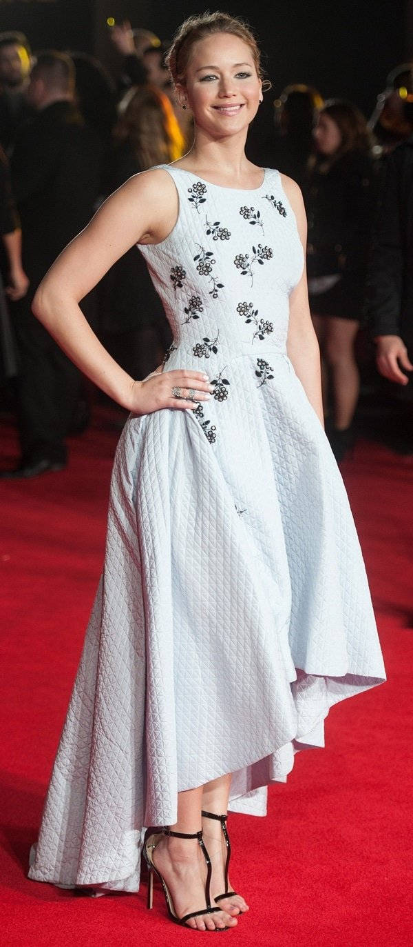 Jennifer Lawrence stunned in a quilted ivory Dior dress