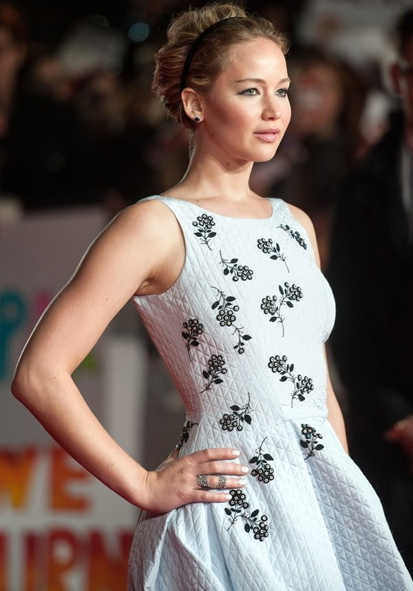 Jennifer Lawrence at the world premiere of 'The Hunger Games: Mockingjay — Part 1' in London, England, on November 10, 2014
