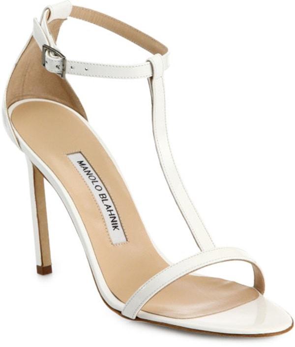 Manolo Blahnik T-Strap Leather Sandals in White