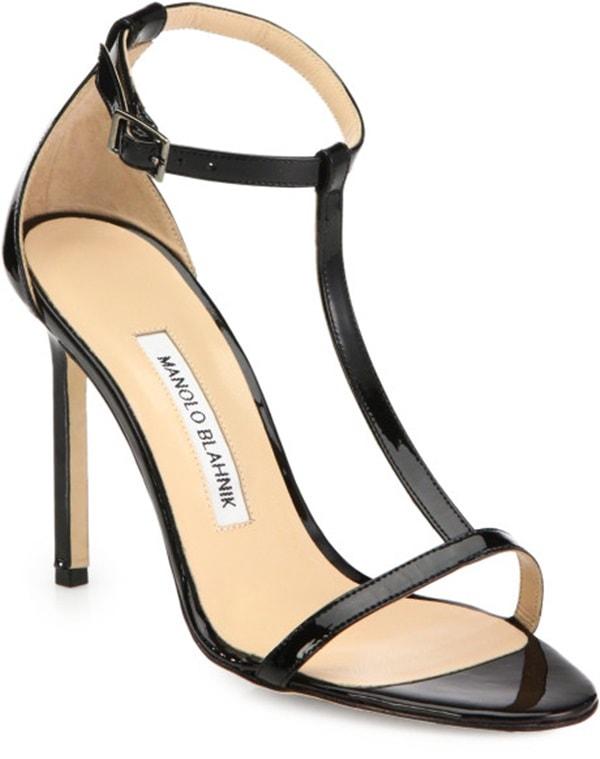 Manolo Blahnik T-Strap Leather Sandals in Black