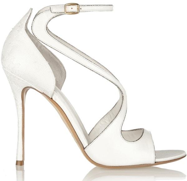 Nicholas Kirkwood Glitter-Trim Lace-and-Leather Sandals