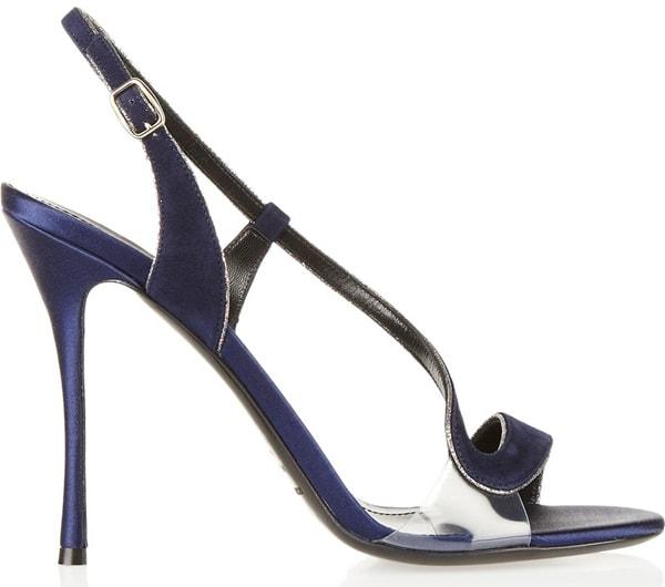 Nicholas Kirkwood Glitter-Trim Suede-and-Satin Sandals