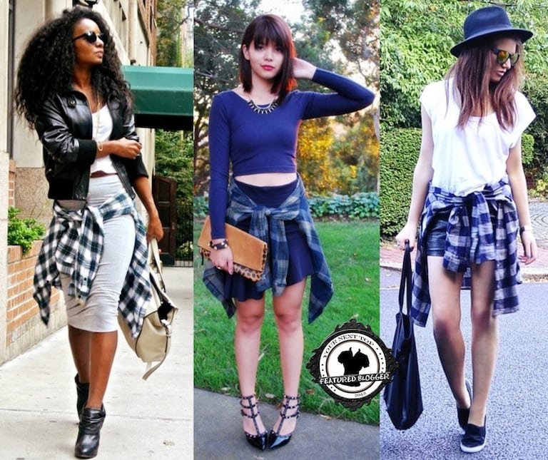 Wrapping a plaid shirt around your skirt ensemble