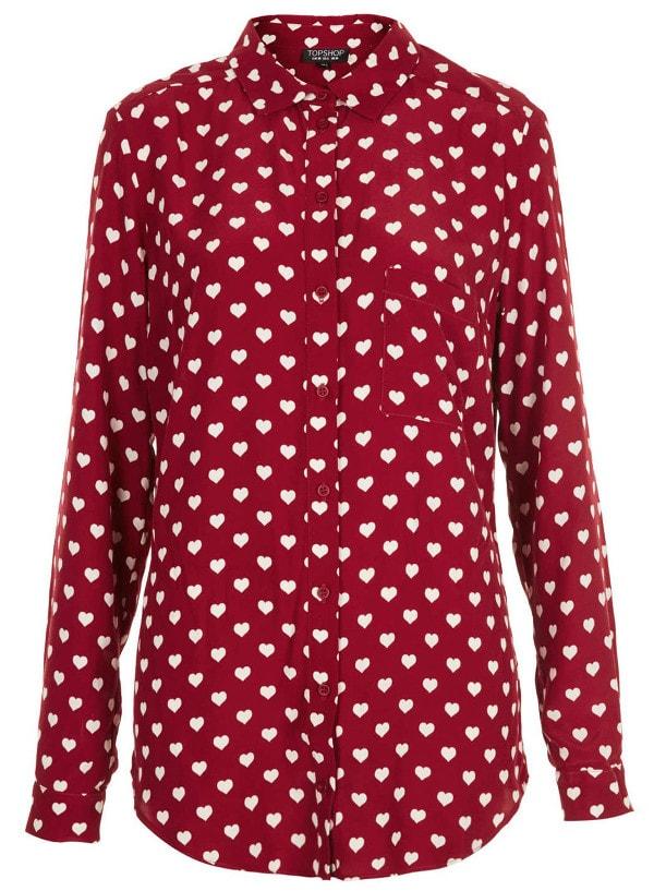 Topshop Heart-Print Marocain Shirt