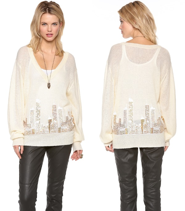 A sequined cityscape brings to mind a (romantically) snowed-in metropolis
