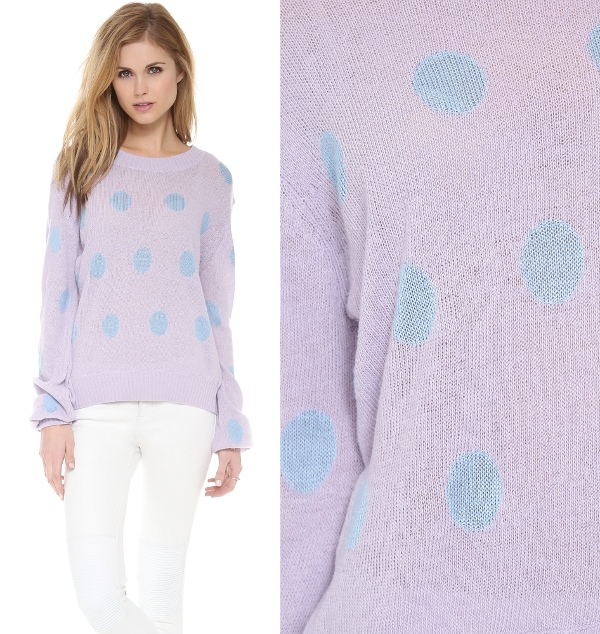 This periwinkle, polka dotted sweater brings to mind the sweet treats the holidays bring