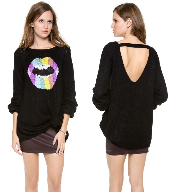 This psychedelic sweater with its cutout back will give your holidays a sexy, retro spin