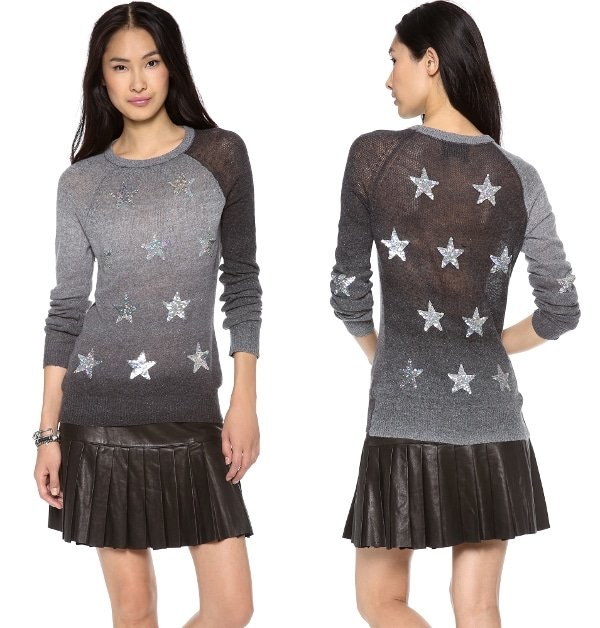 Ombré sweaters are de riguer then add silvery stars