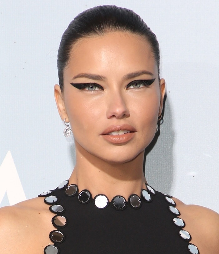 Adriana Lima with cat eye makeup at the 2019 Hollywood for Science Gala in Beverly Hills, California, on February 21, 2019