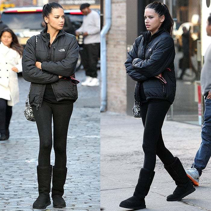 Slim legging-clad legs contrast perfectly with a puffy jacket just as they do with clunky ugg boots