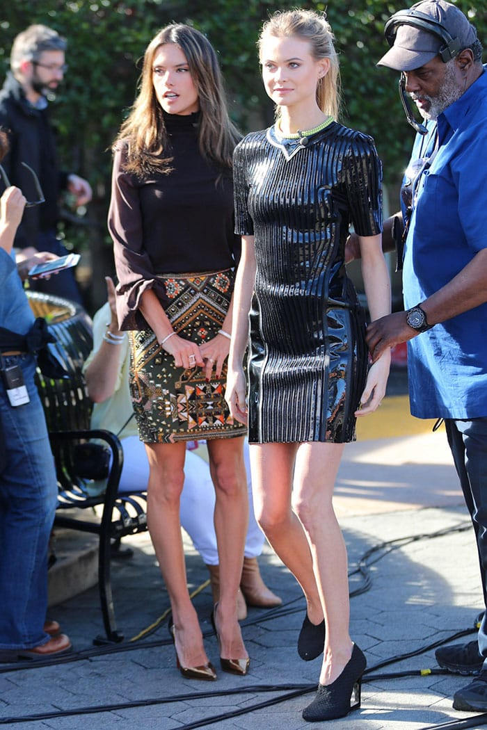 Alessandra Ambrosio and Behati Prinsloo flaunting their legs on the set of Extra