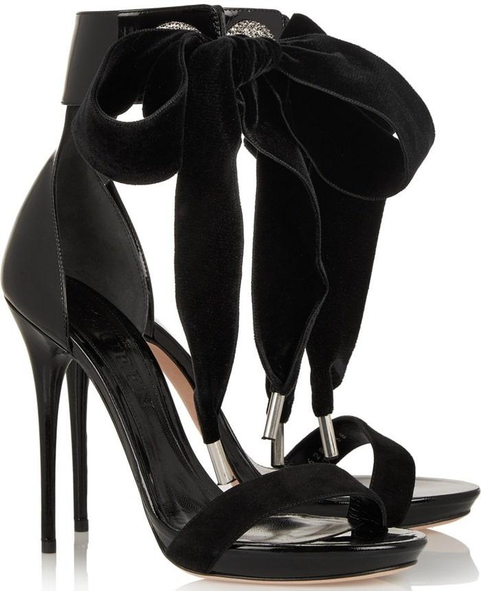 Alexander McQueen Black Swarovski Crystal Embellished Sandal