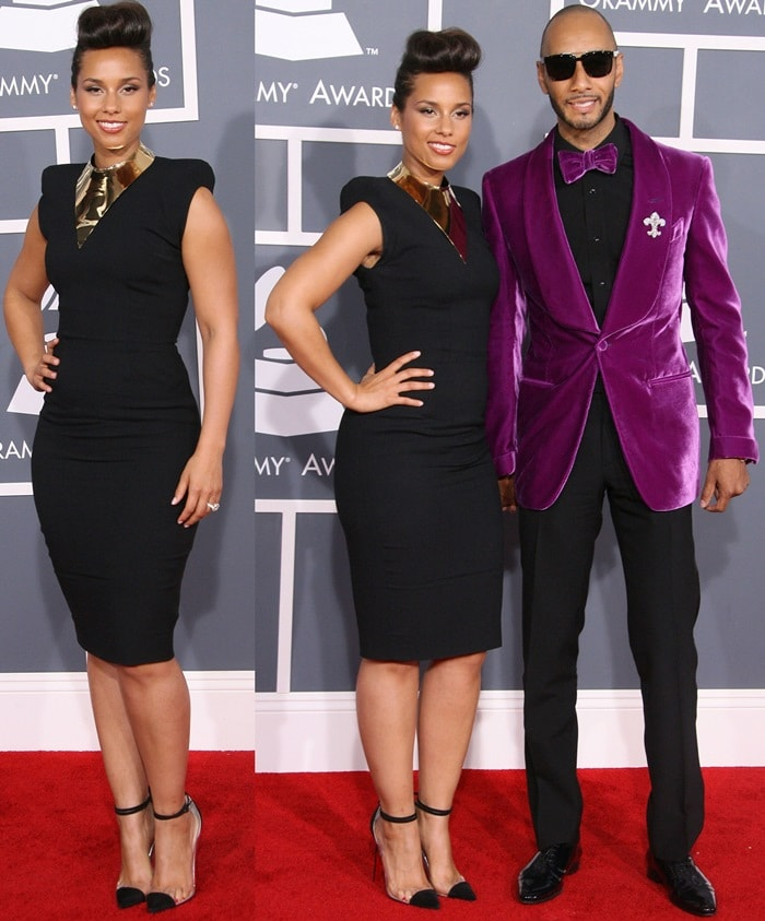 Alicia Keys and husband Swizz Beatz at the 54th Annual Grammy Awards (The Grammys) held at the Staples Center in Los Angeles on February 12, 2012