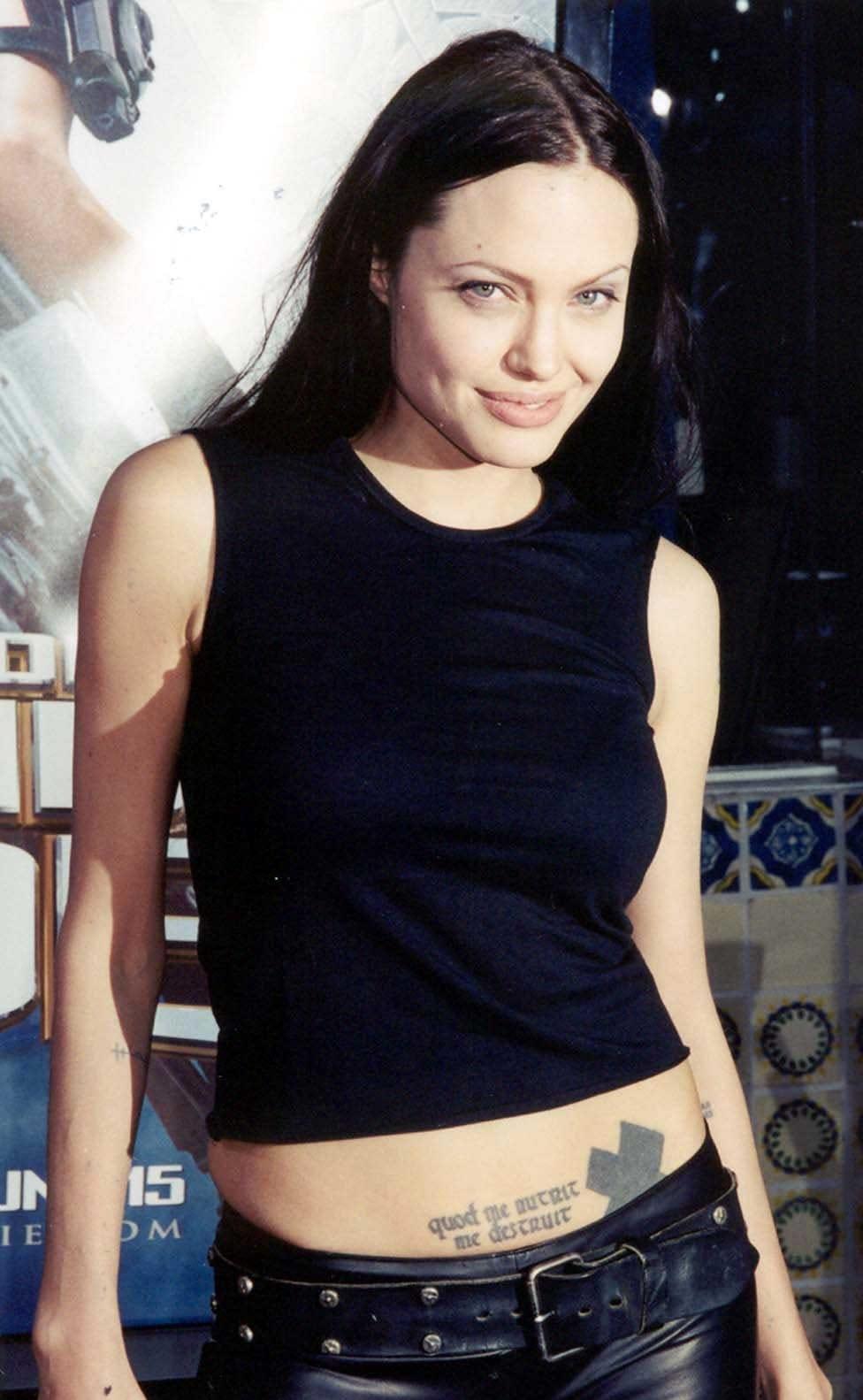 "Actress Angelina Jolie displays her real boobs at the world premiere of ""Lara Croft - Tomb Raider"""