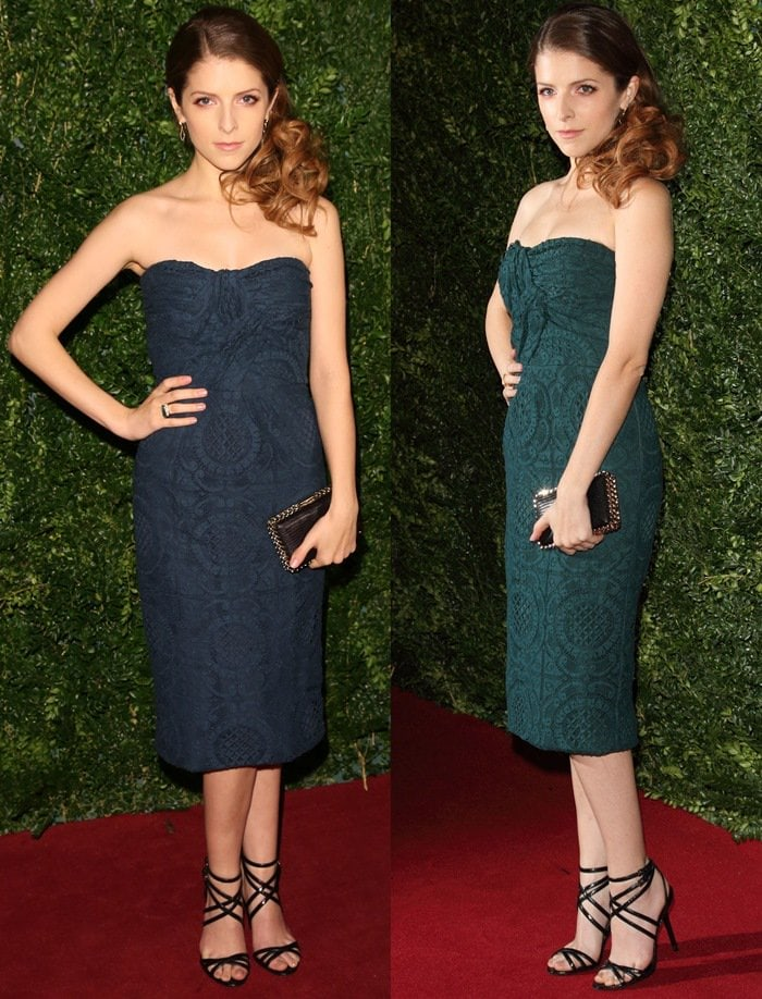 Anna Kendrick flaunts her sexy body in astrapless dress from the Burberry Prorsum Spring 2014 Collection