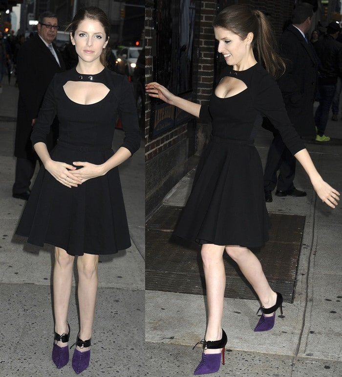 Anna Kendrick flaunts cleavage ina Carven belted dress