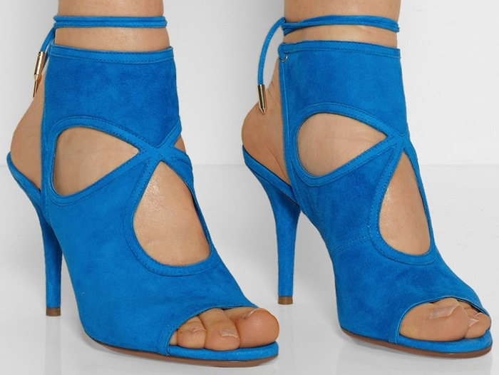 Aquazzura Blue Sexy Thing Cutout Suede Sandals