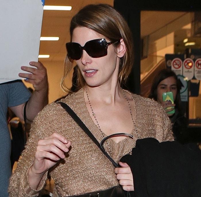 Ashley Greene wearing a fluffy knit jumper sweater by Some Days Lovin
